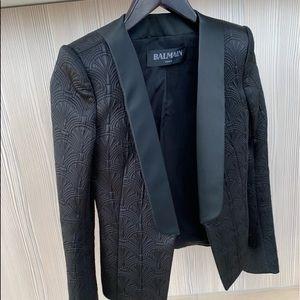 Balmain Satin Quilted Tuxedo Jacket